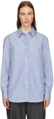 Studio Nicholson Blue Stripe Side Pocket Shirt