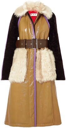 Marni Paneled Leather And Shearling Coat - Brown