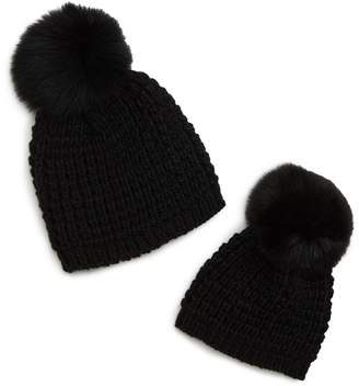 KYI KYI Mom & Me Knit Hats with Genuine Fox Fur Poms Set