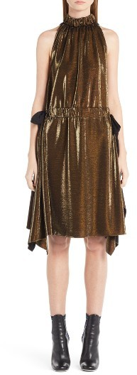 Women's Fendi Metallic Jersey Halter Dress
