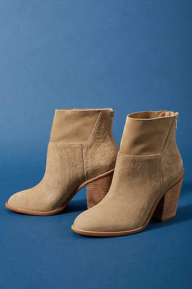 Anthropologie Embossed Leather Ankle Boots