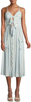 Rebecca Minkoff Derinda Striped Tie-Front Midi Dress