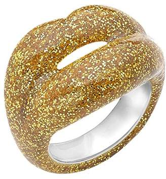 Solange Azagury-Partridge HOTLIPS Glitters Lacquered Golden Gold Ring- Size N