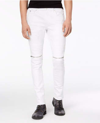 GUESS Men's Skinny-Fit Stretch White Destroyed Moto Jeans