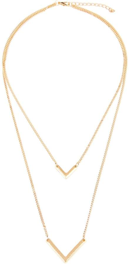 Riah Fashion V-Shaped Layered Necklace