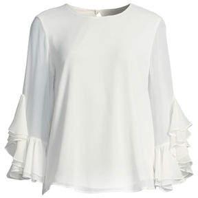 a380e6dec859b7 ... Iconic American Designer Cascading-Ruffle Sleeve Blouse