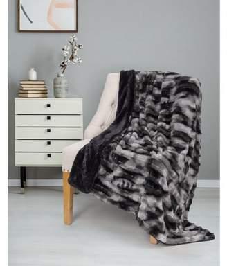 "Co Safdie & Throw Blanket Faux Fur 50"" x 60"" Black Ultra Soft"