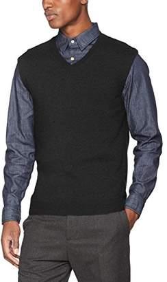 Sisley Men's S/l V Neck Sweater Vest, (Grey 80c), Small