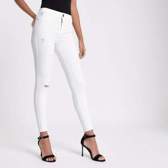 River Island Womens White FTBC charity Molly mid rise jeggings