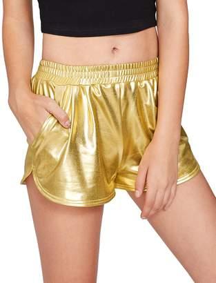 SweatyRocks Women's Yoga Hot Shorts Shiny Metallic Pants L