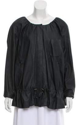 Donna Karan Collarless Leather Jacket
