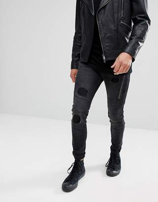 Religion Jeans In Skinny Fit With Panels And Rips
