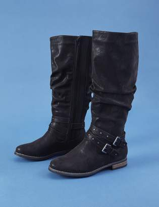 Studded Buckle Riding Boot