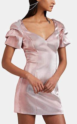 Area Women's Cotton-Blend Lamé Fitted Minidress - Pink