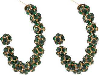 Lydell NYC Cubic Zirconia Hoop Earrings, Green