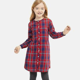 Uniqlo Girl's Flannel Checked Long-sleeve Dress