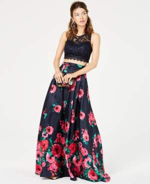 Sequin Hearts Juniors' 2-Pc. Sequined Lace & Floral Gown, Created for Macy's