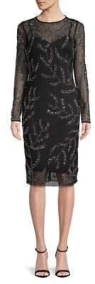 Betsy & Adam Embellished Long-Sleeve Sheath Dress