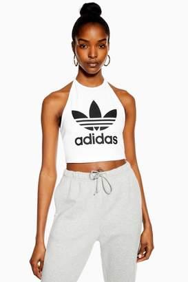 620ec18a0bb adidas Womens White Halter Logo Crop T-Shirt By White