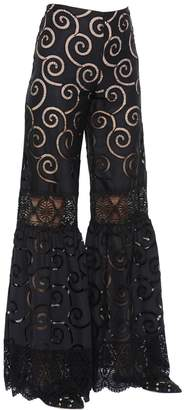 Alberta Ferretti Embroidered Poplin & Macramé Lace Pants