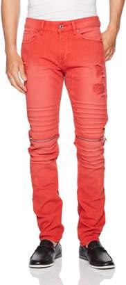 GUESS Men's Slim Tapered Zip Moto Jeans