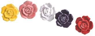 Rose Ceramic Knobs Yazer Colorful New Home DIY Decorative Drawer Cabinet Pulls Cupboard Kitchen Bin Door Handles (Pack of 5)