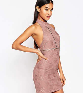 NaaNaa Lace Pencil Dress With High Neck