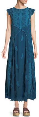 Johnny Was Xanafa Cap-Sleeve Rayon Georgette Maxi Dress