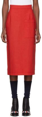 Thom Browne Red High-Rise Cuban Pocket Skirt
