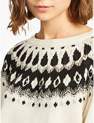 French Connection Vera Fair Isle Embellished Jumper, Cream/Multi