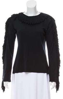 Sonia Rykiel Fringe-Trimmed Long Sleeve Top