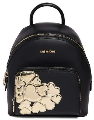Love Moschino Metallic Hearts PU Leather Backpack