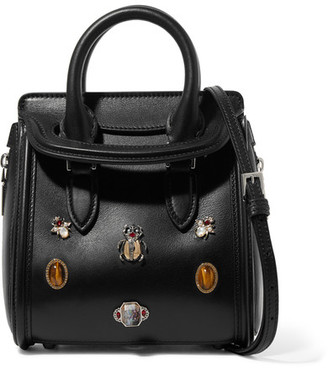 Alexander McQueen - The Heroine Mini Embellished Leather Shoulder Bag - Black $2,395 thestylecure.com