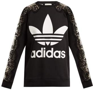 Stella McCartney Lace Trimmed Logo Print Sweatshirt - Womens - Black