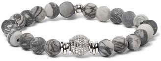 Tateossian Stonehenge Spiderweb Jasper Bead And Sterling Silver Bracelet