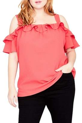 Rachel Roy Ruffle Edge Top (Plus Size)