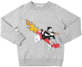 Stella McCartney Racing Cat Print Cotton Sweatshirt
