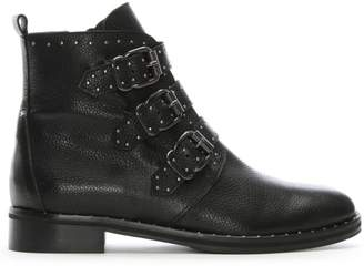 Daniel Nibble Black Leather Studded Biker Boots