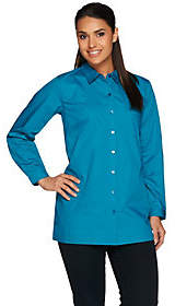 Joan Rivers Classics Collection Joan Rivers Long Sleeve Boyfriend Shirt withChest Pocket