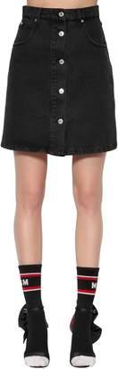 MSGM High Waisted Cotton Denim Mini Skirt