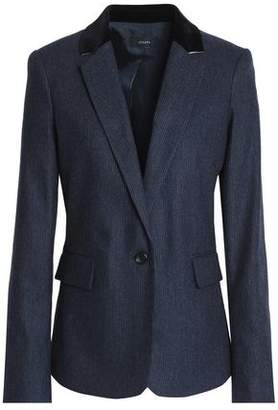 Joseph Velvet-Trimmed Pinstriped Wool-Blend Felt Jacket