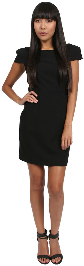 4.Collective Crepe Cap Sleeve Dress in Black
