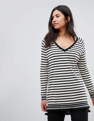 Maison Scotch Wool Blend Stripey Long Sweater