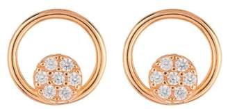 Argentovivo 18K Rose Gold Plated Sterling Silver Open Circle CZ Pave Stud Earrings