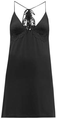 La Perla Lace Trim Jersey Slip Dress - Womens - Black