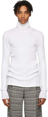 Maison Margiela White Irregular Rib Turtleneck