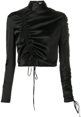 Priscavera ruched cropped blouse