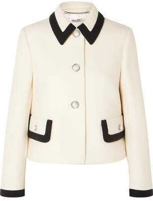 Miu Miu - Faux Pearl-embellished Wool-crepe Jacket - Ivory