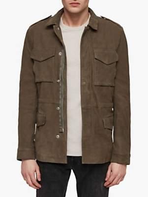 Courte Leather Military Jacket, Dark Khaki