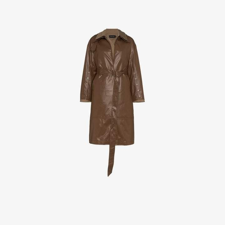 Low Classic double faux leather trench coat
